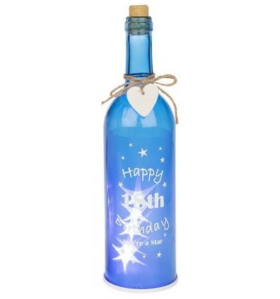 Blue Light up 18th Birthday Gift Bottle