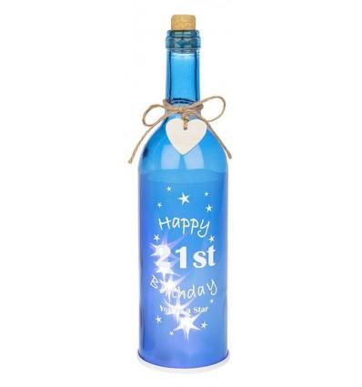 Blue Light up 21st Birthday Gift Bottle