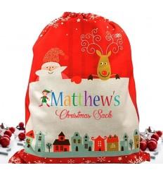 Elf Boy Personalised Christmas Sack