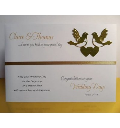 Wedding Personalised Card with Gold Love Birds