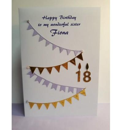 Birthday Bunting Personalised Card - 1