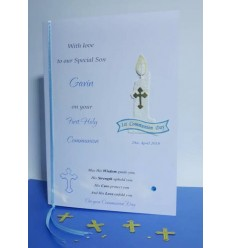 First Communion Personalised Card 2 Blue Candle