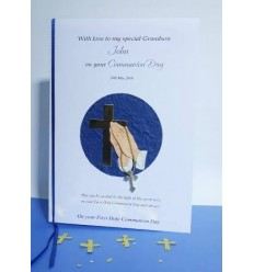 First Communion Personalised Card 7 Gold Cross and Praying Hands