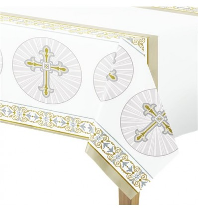 Gold Cross Plastic Tablecloth Cover