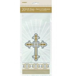 Gold Cross Plastic Gift Bags