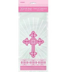 Pink Cross Plastic Gift Bags