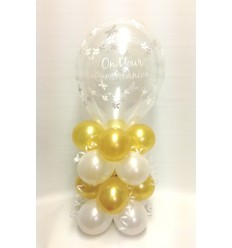 Balloon Column First Communion Gold
