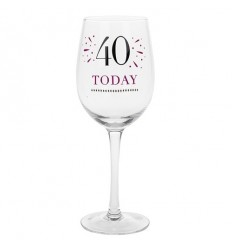 40th Birthday Wine Glass