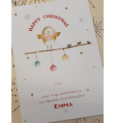 Watercolour Christmas Robin Personalised Card