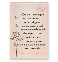 'Open your eyes' Glass Plaque