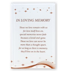 'In Loving Memory' Glass Plaque