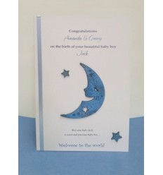 Baby Boy Moon and Stars Personalised Card - 9