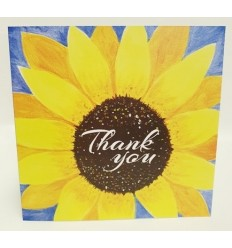 THANK YOU painted sunflower card