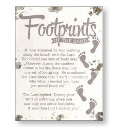 Footprints wooden plaque