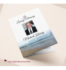Beach Scene Funeral Mass Booklet with photo
