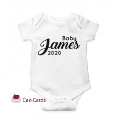 2020 New Baby Babygro with name