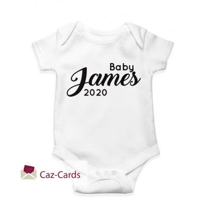 2020 New Baby Babygro with name