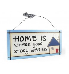 Home Is Where Your Story Begins Wooden Sentiment Plaque