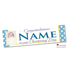 Blue Spotty Banner - Personalise with your wording and image