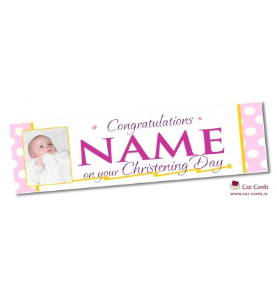 Pink Spotty Banner - Personalise with your wording and image