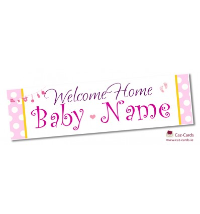 Welcome Baby Girl Personalised Banner