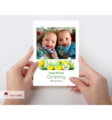 Photo Personalised Card With Flowers