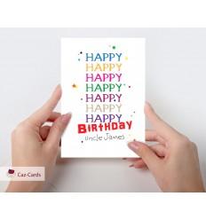 Happy Happy Birthday Personalised Card