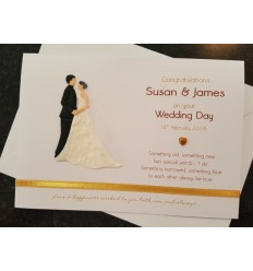 Wedding Personalised Card with bride & groom