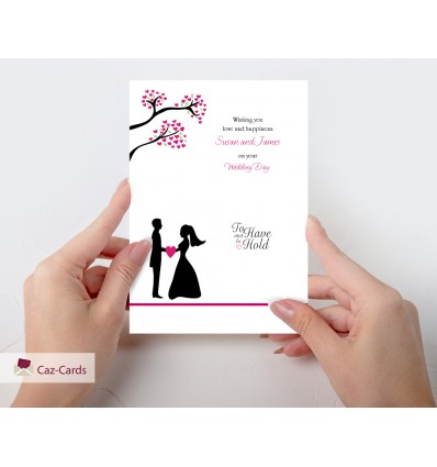 Wedding Pink Blossom Personalised Card with Bride & Groom