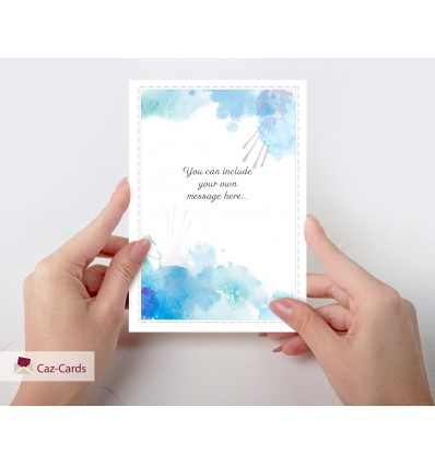 Your Own Personalised Message blue watercolour card