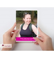 Pink Stripe Photo Personalised Card