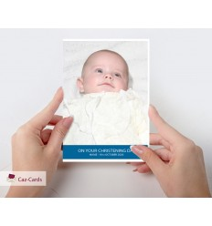 Blue Stripe Photo Personalised Card