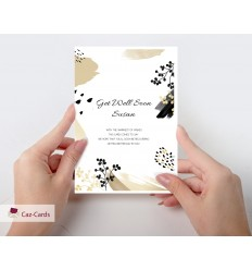 Get Well Soon Personalised Card with gold and black design