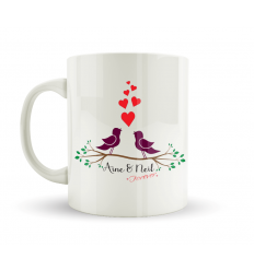 Love Birds Mug Personalised With Names