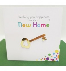 New Home handmade card with gold key