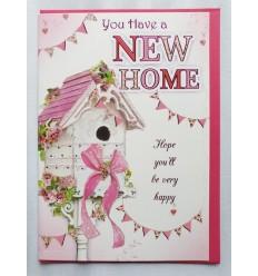 NEW HOME bird house pretty card