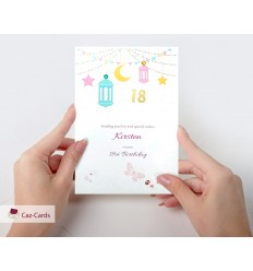 Age Personalised Birthday Card With Lantern Design