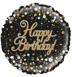 BIRTHDAY BLACK & GOLD FIZZ FOIL BALLOON 18 INCH