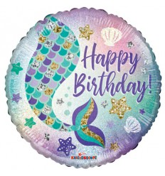 BIRTHDAY GLITTER MERMAID FOIL BALLOON 18 INCH