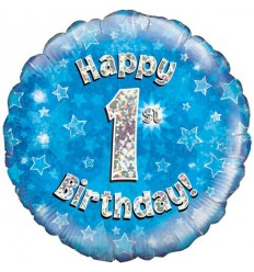 1ST BIRTHDAY BLUE FOIL BALLOON 18 INCH