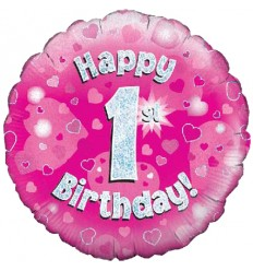 1ST BIRTHDAY PINK FOIL BALLOON 18 INCH