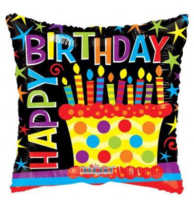 BIRTHDAY CANDLES & DOTS FOIL BALLOON 18 INCH