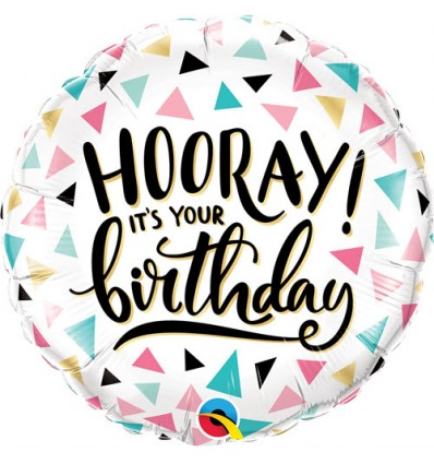 HOORAY ITS YOUR BIRTHDAY FOIL BALLOON 18 INCH