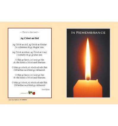 Ag Críost an Síol Memorial Card