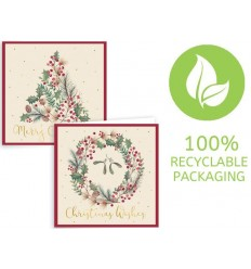 12 pack of Tree and Wreath Christmas Cards.