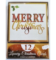 Merry Christmas gold foil Christmas cards