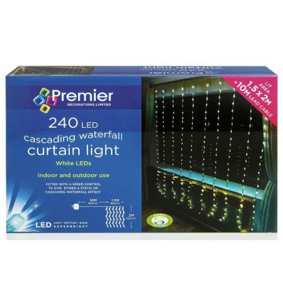 240 White LED Waterfall Curtain Light
