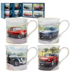 Classic Cars Mug Gift Set of 4