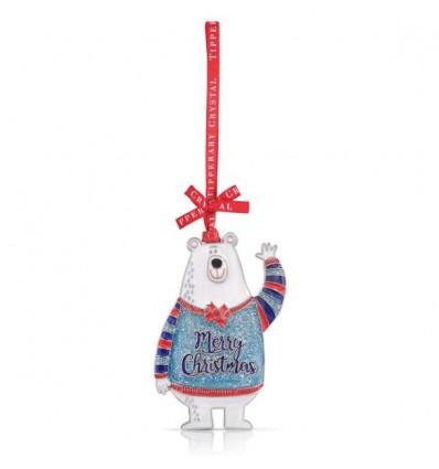 Sparkle Polar Bear Christmas Decoration - Tipperary Crystal