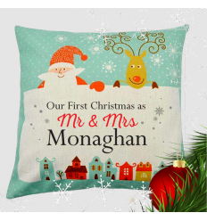 Mr & Mrs First Christmas Cushion Personalised